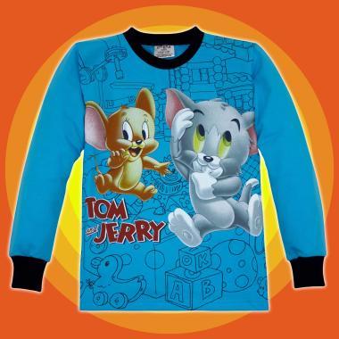 Блуза Том и Джери с 3 канта в синьо 3