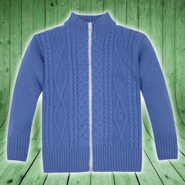 Жилетка плетиво с цип в синьо