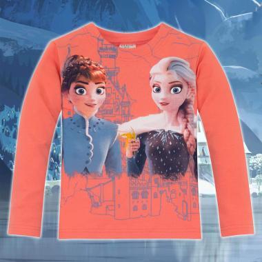 Блуза Замръзналото кралство-Frozen в цвят праскова