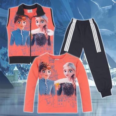 Комплект 3ч.(б/е/д) Замръзналото кралство-Frozen в цвят праскова