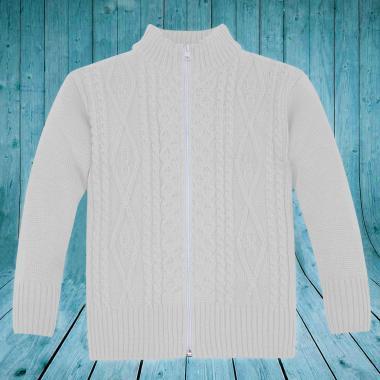 Жилетка плетиво с цип в бяло