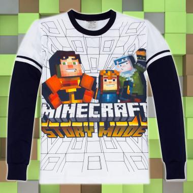 блуза тънка с дълъг ръкав Minecraft в бяло