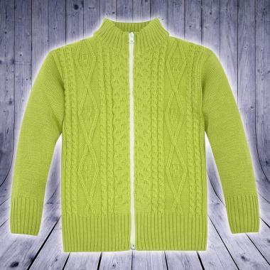 Жилетка плетиво с цип в цвят тревисто зелено