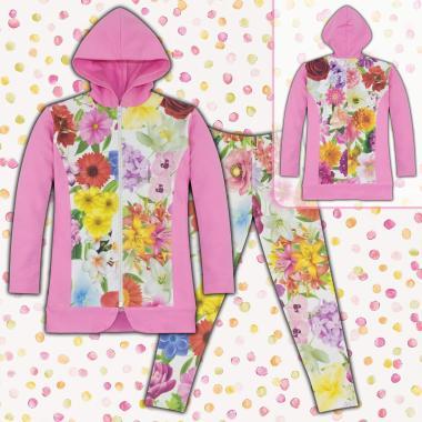 Комплект дълго сако и клин на цветя S1 в розово