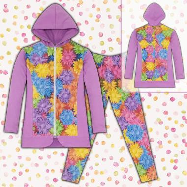 Комплект дълго сако и клин на цветя S2 в лилаво