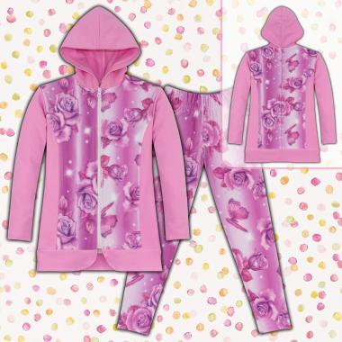 Комплект дълго сако и клин на цветя S3 в розово
