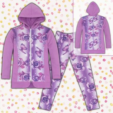 Комплект дълго сако и клин на цветя S3 в лилаво