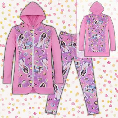 Комплект дълго сако и клин Сой Луна в розово