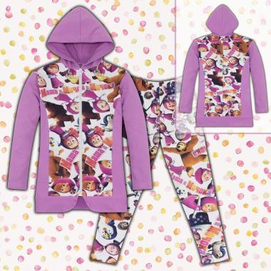 Комплект дълго сако и клин с Маша и Мечока в лилаво
