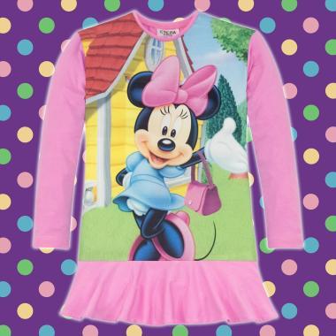 Туника-рокля Мини Маус с чанта в розово