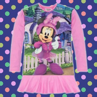 Туника-рокля Мини Маус O'K в розово, дигитален печат