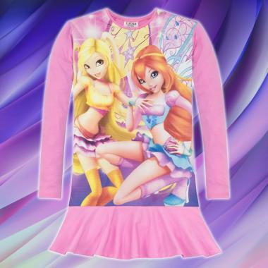Туника-рокля WINX CLUB в розово, дигитален печат
