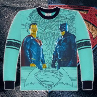 Блуза триконечна вата Батман срещу Супермен мента