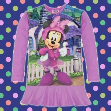 Туника-рокля Мини Маус O'K в лилаво, дигитален печат