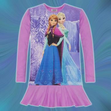 Туника-рокля Замръзналото кралство с Елза и Анна в лилаво, дигитален печат