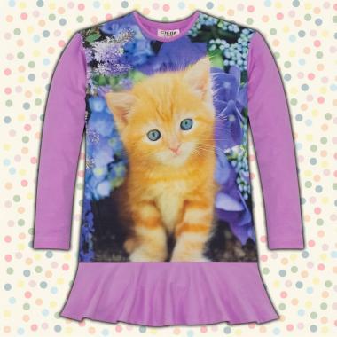 Туника-рокля коте в лилаво, дигитален печат