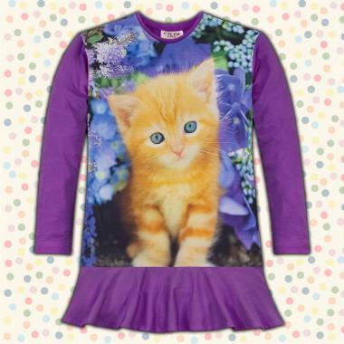 Туника-рокля коте в тъмно лилаво, дигитален печат