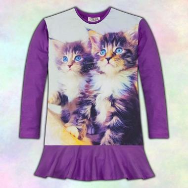 Туника-рокля малки Котета в тъмно лилаво, дигитален печат