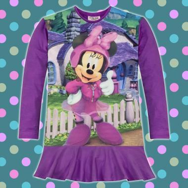 Туника-рокля Мини Маус O'K в тъмно лилаво, дигитален печат