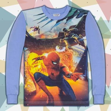 блуза тънка с дълъг ръкав Спайдермен 1в синьо