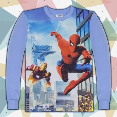 блуза тънка с дълъг ръкав Спайдермен 2 в синьо