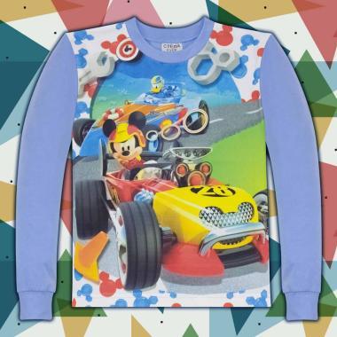 блуза тънка с дълъг ръкав Мики Маус в синьо
