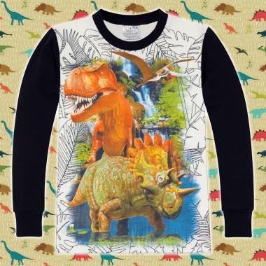 блуза тънка с дълъг ръкав динозаври в екрю