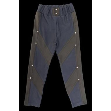 Панталон в комбинация с кожен плат т.сив