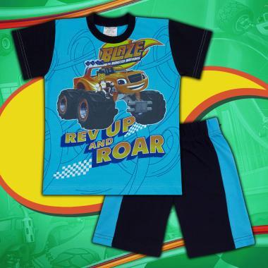 Комплект тениска и бермуди Пламъчко-в-наситено синьо