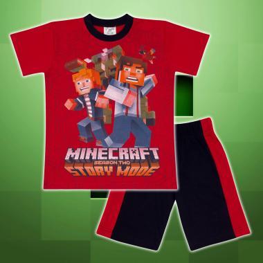 Комплект тениска и бермуди Майнкрафт червено