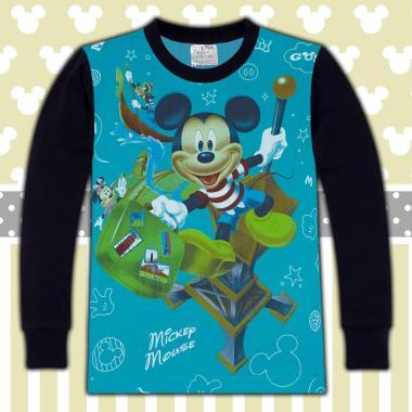 блуза тънка с дълъг ръкав Мики Маус в морско синьо