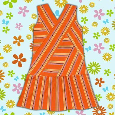 рокля спортно-елегантна-райе-в-оранж
