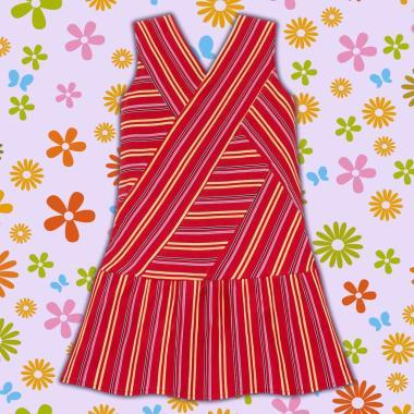 рокля спортно-елегантна-райе-в-червено