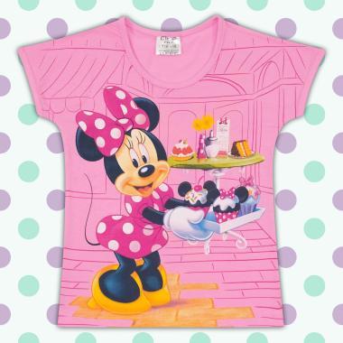 Блуза с къс ръкав Мини Маус в розово