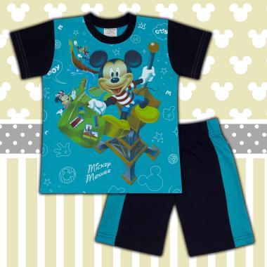 Комплект тениска и бермуди Мики Маус морско синьо