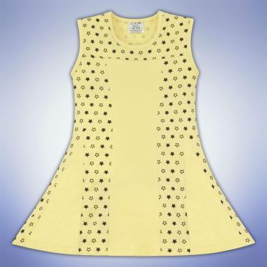 Рокля с панделка на звездички в жълто