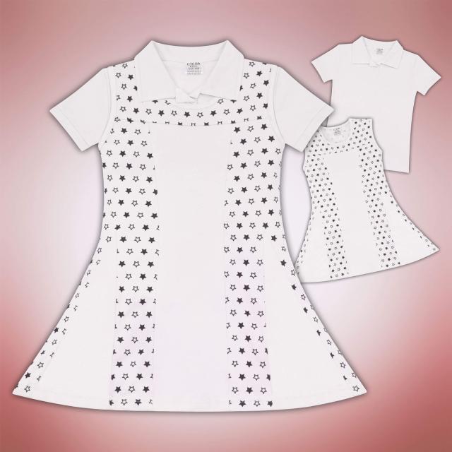 Комплект блузка и рокля на звезди в бяло