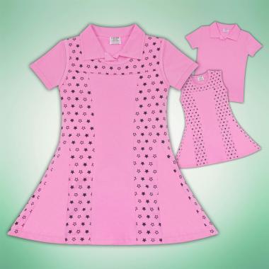 Комплект блузка и рокля на звезди в розово