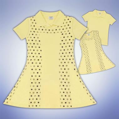 Комплект блузка и рокля на звезди в жълто