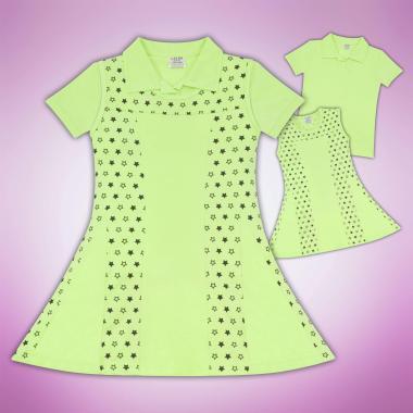 Комплект блузка и рокля на звезди резеда