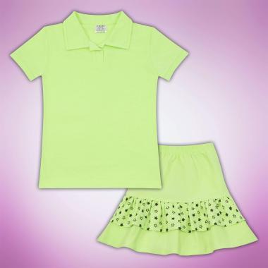 Комплект блузка и пола на звезди в резеда