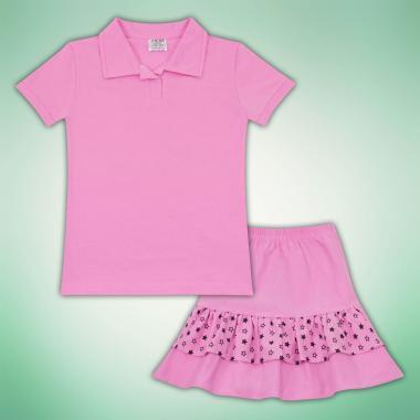 Комплект блузка и пола на звезди в розово