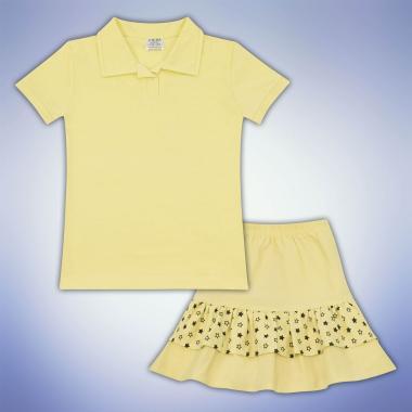 Комплект блузка и пола на звезди в жълто