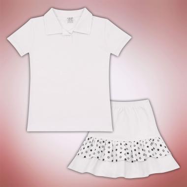 Комплект блузка и пола на звезди в бяло