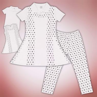 Комплект блузка и рокля и клин на звезди в бяло