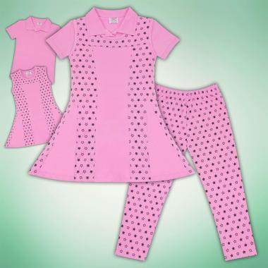 Комплект блузка,рокля и клин на звезди в розово