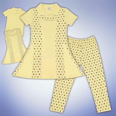 Комплект блузка, рокля и клин на звезди в жълто