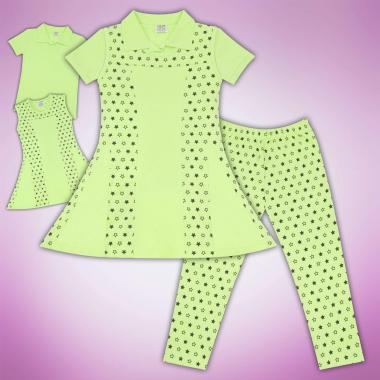 Комплект блузка рокля и клин на звезди резеда