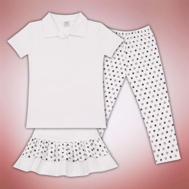 Комплект блузка пола и клин на звезди в бяло