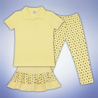 Комплект блузка пола и клин на звезди в жълто